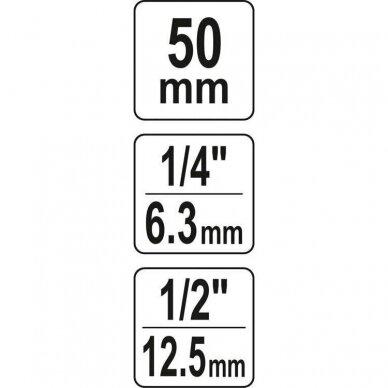 "Adapteris suktuvui smūg. 1/2' - HEX 1/4"", 50mmL 2"