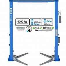 Two post clearfloor lift with electromagnetic release 6t