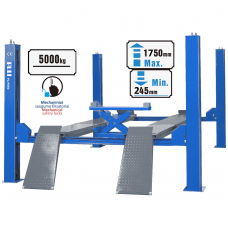 Four post hydraulic lift with secondary lifting mechanism 5t