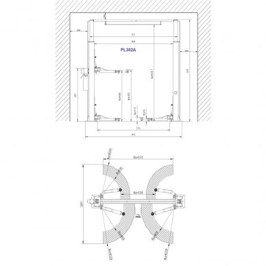 Hidraulinis dviejų kolonų keltuvas su mechaniniais saugumo fiksatoriais, 4.0t 3