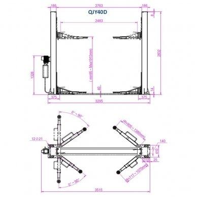 Hidraulinis dviejų kolonų keltuvas su mechaniniais saugumo fiksatoriais, 4.0t 2