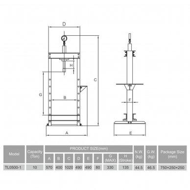 Hidraulinis presas su manometru 10t 2