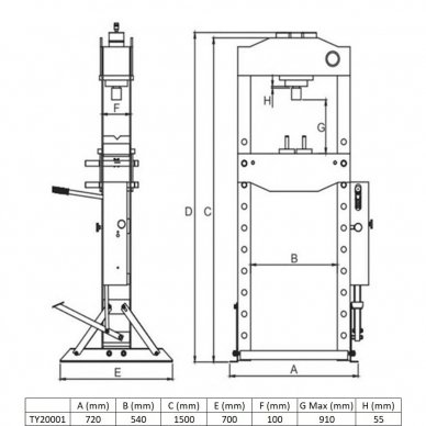 Hidraulinis presas su manometru 20t 2