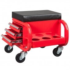 Rolling creeper seat with 3 drawers
