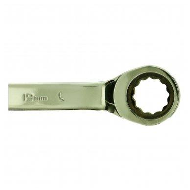Kombinuotų raktų su terkšle rinkinys 12vnt. (8-19) 6