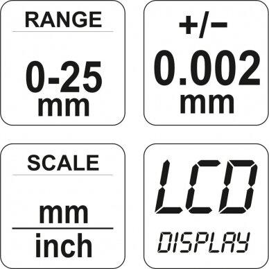 Mikrometras elektroninis 0-25mm 4