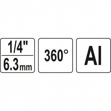 Pneumatinė jungtis 1/4 (iš.s./vid.s.) pasukama 360° 3