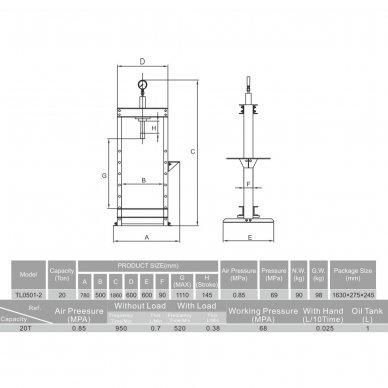 Pneumatinis / hidraulinis presas su manometru 20t 2