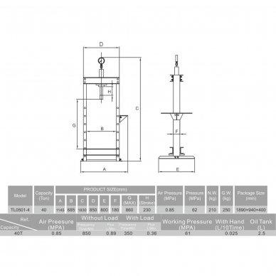 Pneumatinis / hidraulinis presas su manometru 40t 2