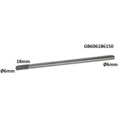 Prailginta freza kietmetalio B cilindro formos Ø6 x 18mm