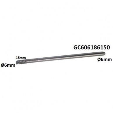Prailginta freza kietmetalio C cilindro formos užapvalinta Ø6 x 18mm