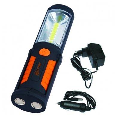 Prožektorius darbui COB (3W) + LED5 (įkraunamas)