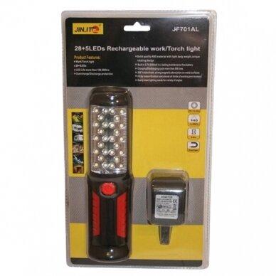 Prožektorius darbui LED28+5 (įkraunamas)