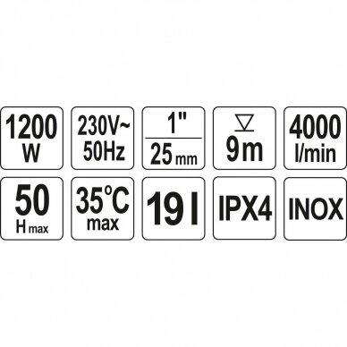 Siurblys 1200W su 19l hidroforu (INOX) 3