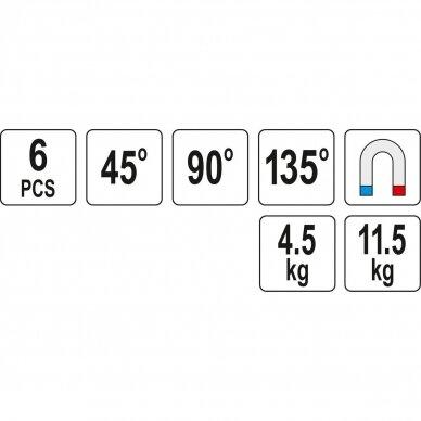 Suvirinimo kampų magnetinių rinkinys (6vnt)(45°-90°-135°) 3
