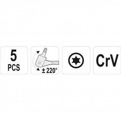 TORX lanksčių raktų rinkinys (5vnt) T15-T60 2