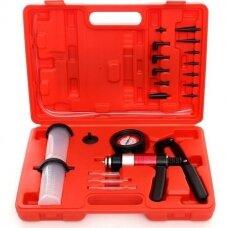 Vacuum & pressure pump and brake bleeding kit