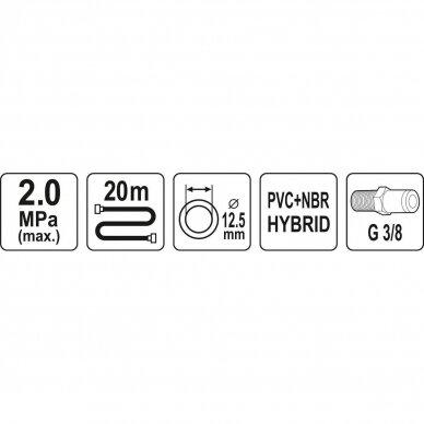 """Žarna hibridinė su išoriniais sriegiais 3/8"""" (Ø12.5x17mm) 20m 2"""