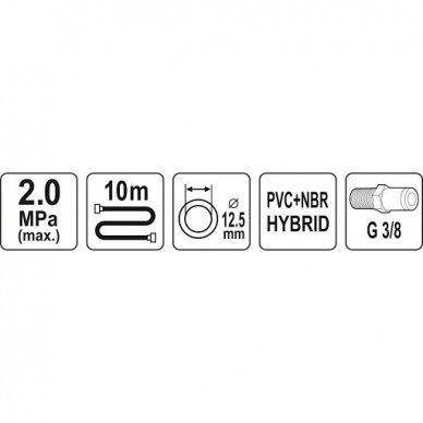 """Žarna hibridinė su išoriniais sriegiais 3/8"""" (Ø12.5x17mm) 10m 2"""